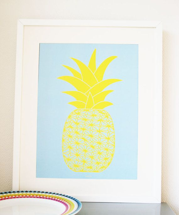Graphic Art Print poster of a Pineapple blue/yellow A3 by Ramalamb