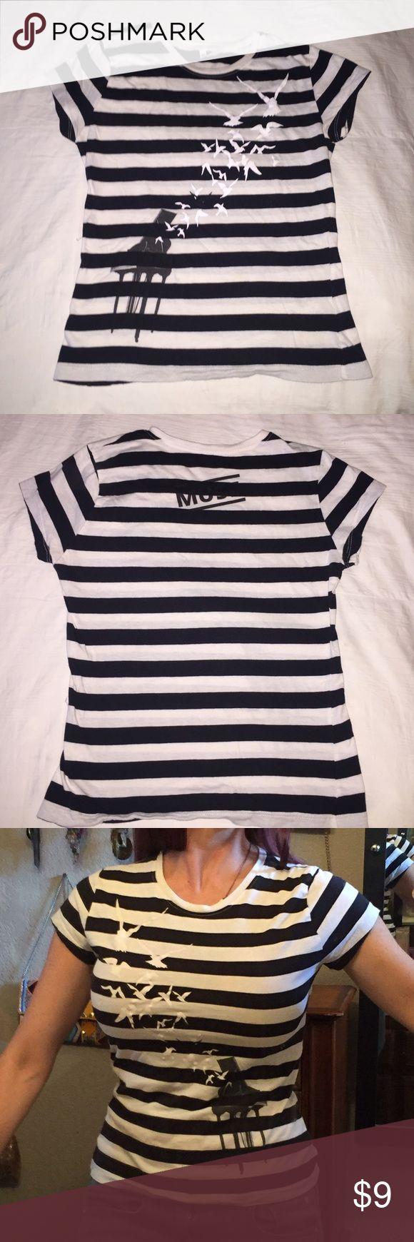 Muse T-shirt Brand New Black and white striped fitted T shirt purchased at Muse concert and never worn. Super soft, size medium but fits like a small Tops Tees - Short Sleeve