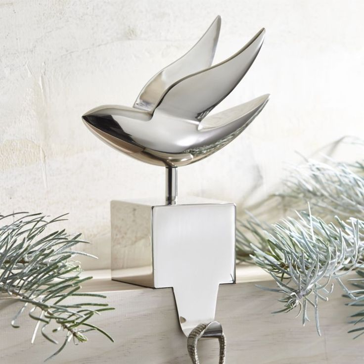 Silver Dove Stocking Hook    Crate and Barrel