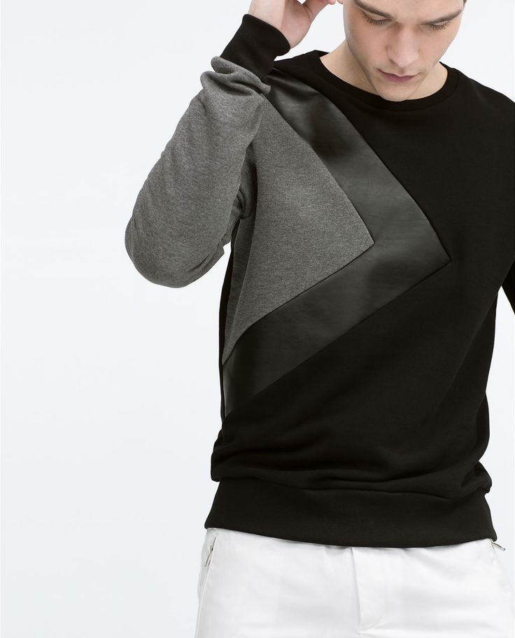 SWEATSHIRT WITH FAUX LEATHER DETAILS-Sweatshirts & Hoodies-MAN | ZARA United States