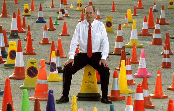 David Morgan (UK) has a collection of 137 different traffic cones (april 2000)