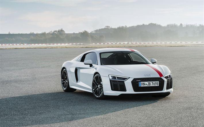 Descargar fondos de pantalla Audi R8 V10 RWS, 2018, vista de frente, coche deportivo, el ajuste de Audi, el R8 blanco, negro ruedas de los coches alemanes, el Audi