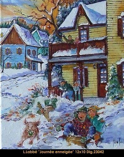 Original oil on canvas painting by Lise Labbé #labbe #artnaif #kidscharacters #winter #day #outdoorplay #canadianartist #quebecartist #originalpainting #balcondart #multiartltee