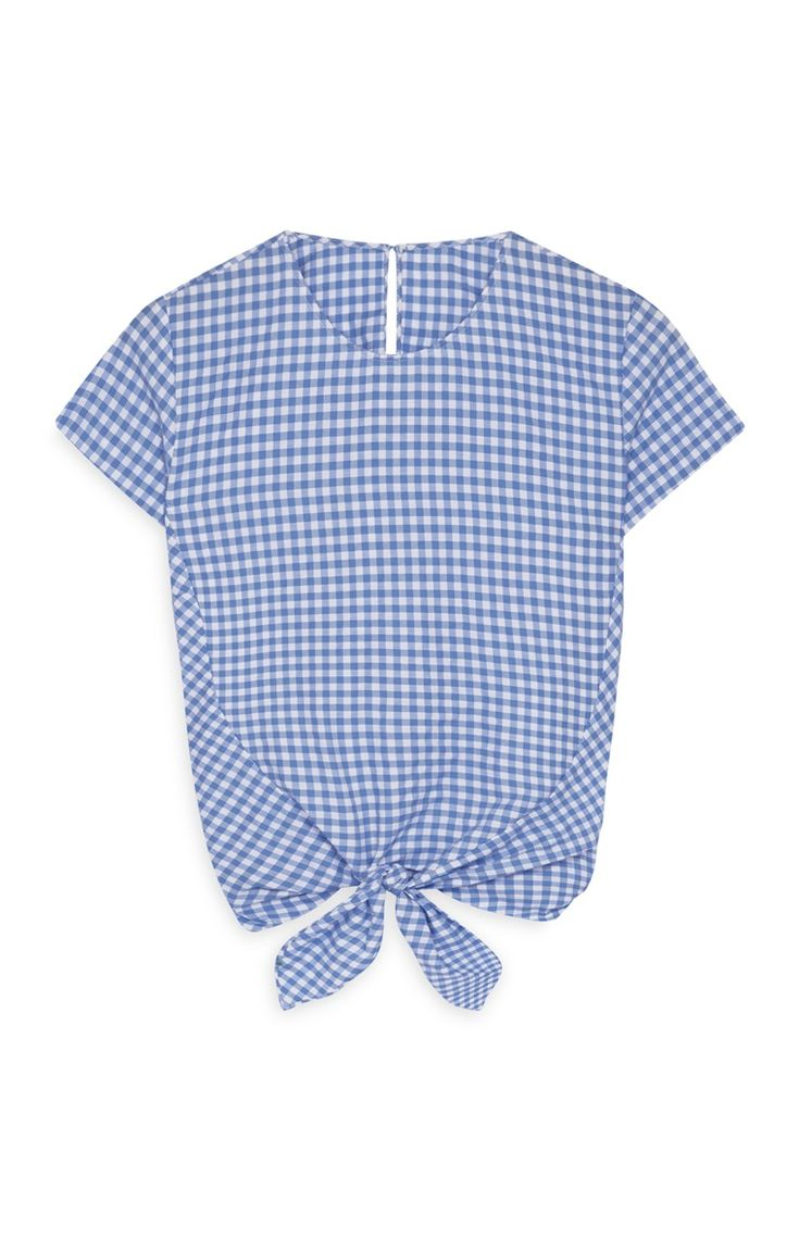 Blue Gingham Front Tie Top