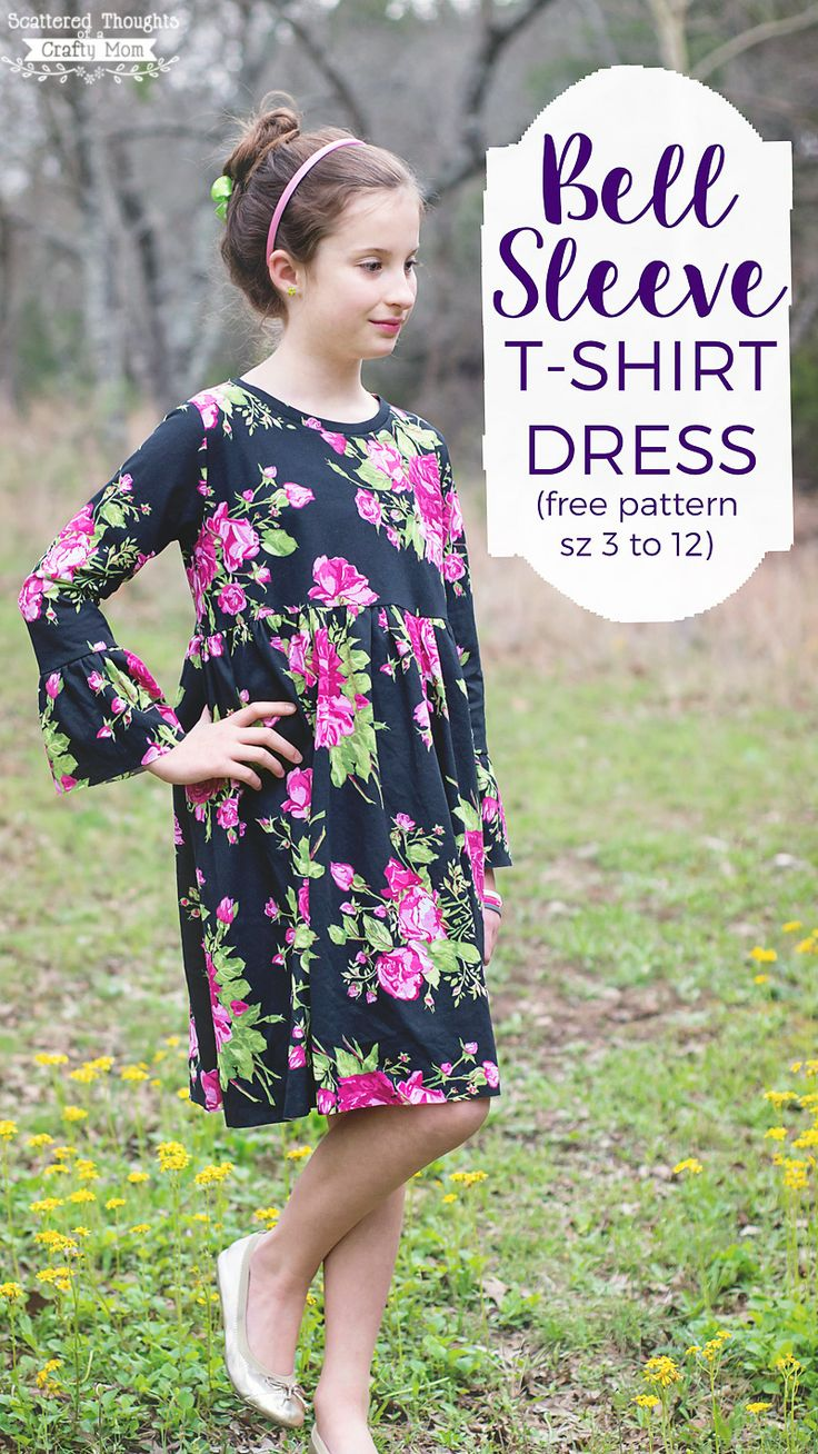Free sewing pattern alert: Be sure to grab a copy of this Bell Sleeve T-Shirt Dress! The free pdf pattern comes in sizes 3 to 12 and makes the perfect addition to any little girls wardrobe. My missy has had a little t-shirt dress with bell sleeves that sheloves and has been begging me for …