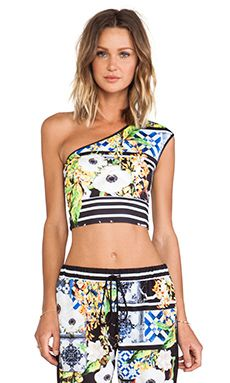 Clover Canyon Greek Tiles One Shoulder Neoprene Top en Multi