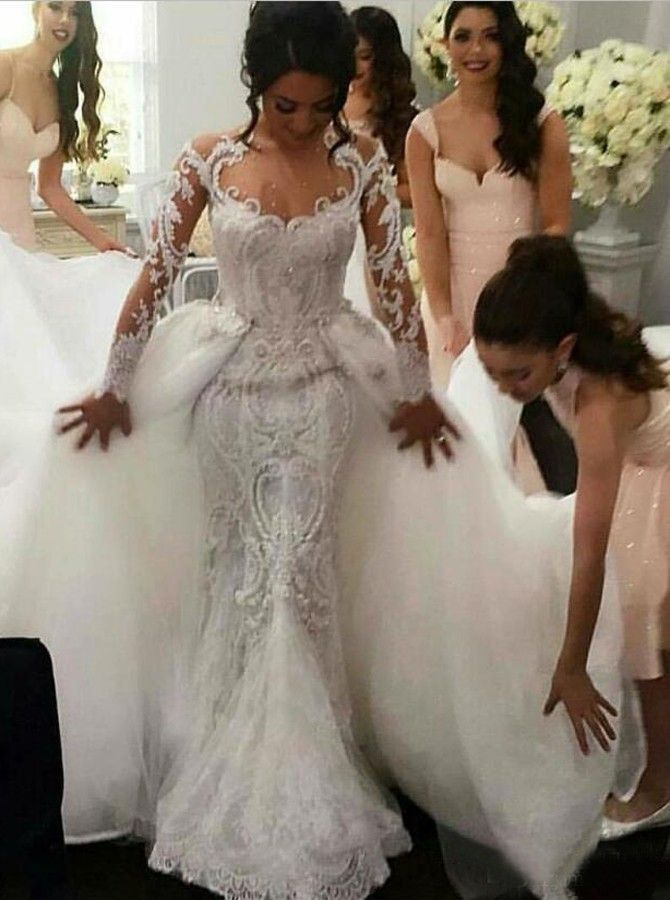 Dramatic Jewel Illusion Neck Long Sleeves Mermaid Wedding Dress with Detchable Train