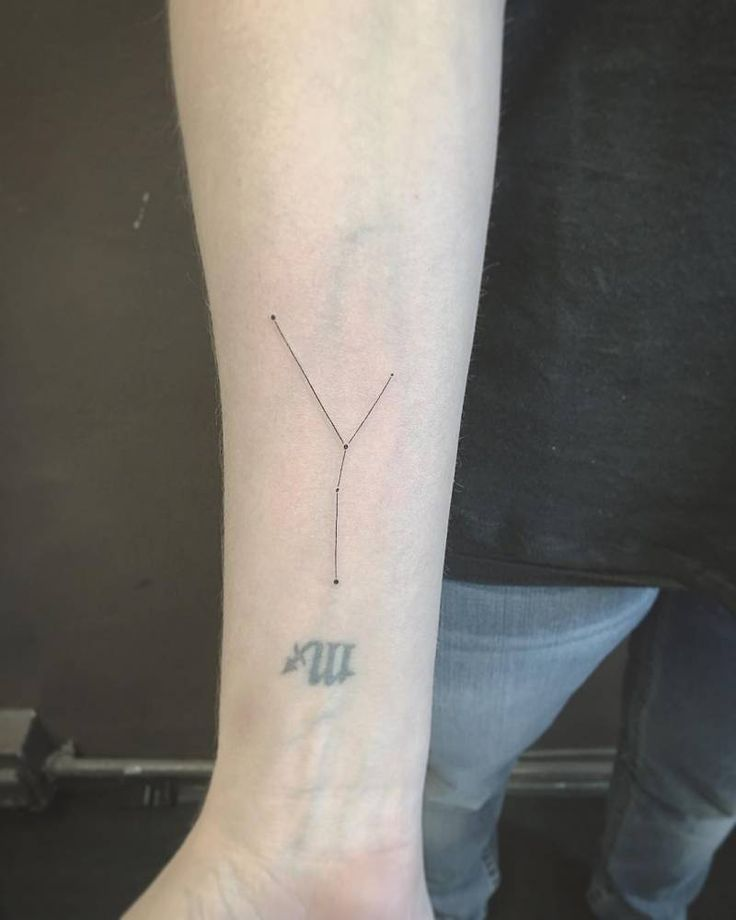 Fine Line Style Taurus Constellation Tattoo On The Right Inner Forearm