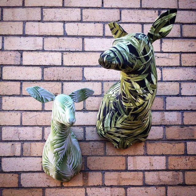 Botanical Deer! #stag #deer #botanical #fern #leafy #green #botanicalprint #decor #fabrictaxidermy #fauxtaxidermy #vegantaxidermy