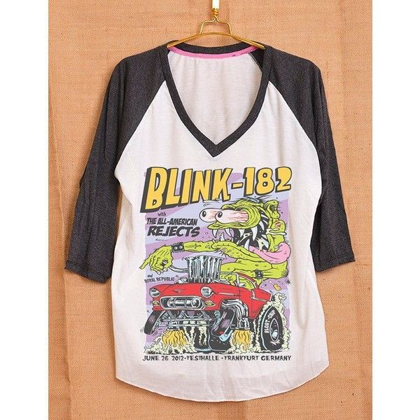 Blink 182 Monster All American Rejects Cover Album Pop Indie Punk Rock... ❤ liked on Polyvore featuring tops, t-shirts, pink t shirt, punk t shirts, women tops, pink floyd t shirt and v neck t shirts