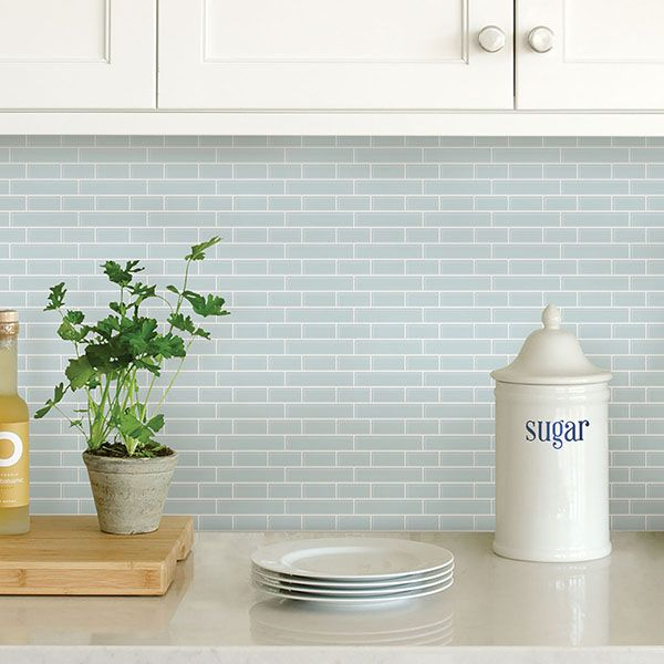 Nh2361 Sea Glass Peel And Stick Backsplash Tiles By In Home Peel Stick Backsplash Kitchen Tiles Backsplash Adhesive Backsplash