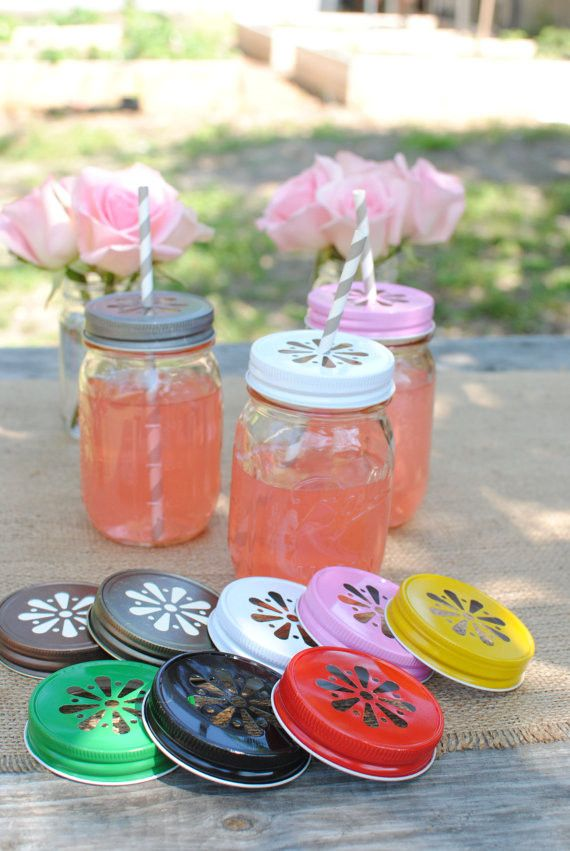 Daisy Cut Mason Jar Lids for Beverages or Candle Making - Choose from 9 colors