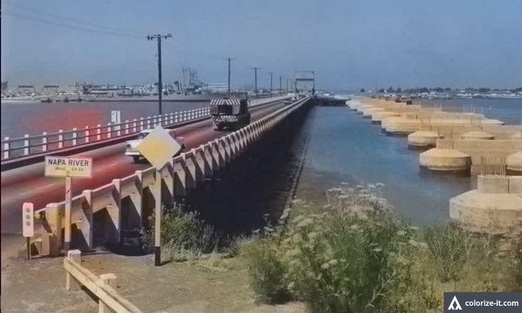 Napa River Bridge, Vallejo, California.  ca. 1963.  The present bridge was under construction and to the right of the old bridge.