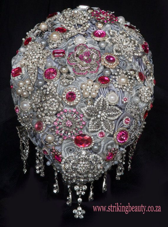 PInk and silver cascading brooch bouquet by BroochbouquetWedding