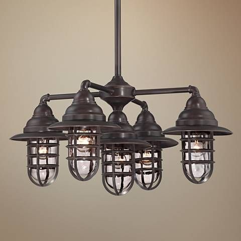 Marlowe 32W Nautical Bronze 5 Light Outdoor Chandelier