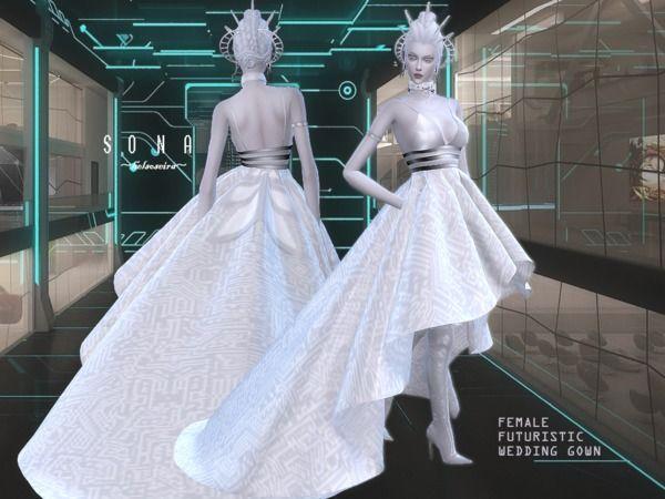 Helsoseira S Sona Futuristic Wedding Gown Mesh Needed Sims 4