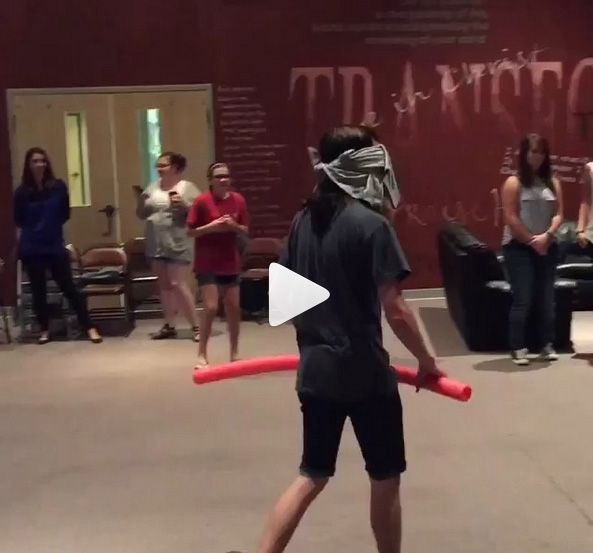 Noodle King - one blindfolded person tries to protect the noodle he's standing over while others try to steal it without getting hit - youth group games