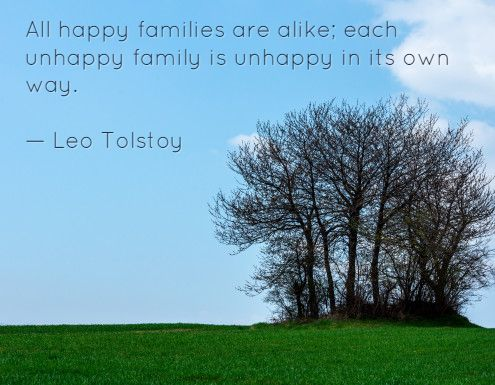 All happy families are alike; each unhappy family is unhappy in its own way. — Leo Tolstoy