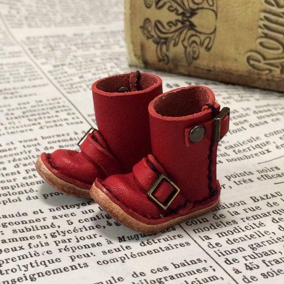 Vrai cuir : bottes moto miniature ingénieur [rouge] (pour blythe)
