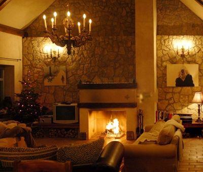 Fire Place in the living room - Luxury Villa Art at Lake Balaton