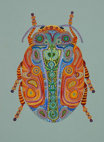 "Known for her vibrantly colored works, artist Tina Close brings joy and  spirit to all that she brings her talent to.  Colorful Beetle adorns a canvas sized for a Kindle. The Kit includes  an 8"" x 5.5"" (we provide a little extra over the kindle dimensions so there is some wiggle room for the kindle to slide). Available on 14, 16 or 18 mesh mono - $126"