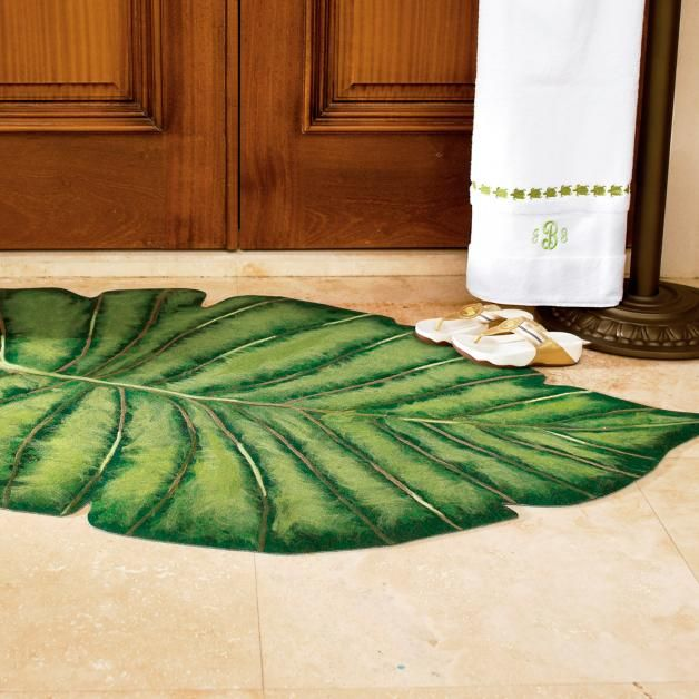 Palm Frond Indoor Outdoor Rug Tropical Bathroom Indoor