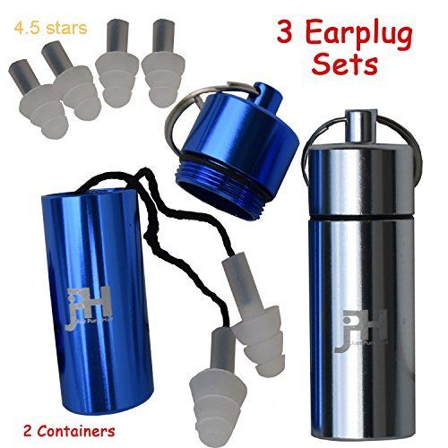 Ear Plugs  Best Noise Cancelling Silicone Protection Earplugs  Includes 3 Sets And 2 Containers  For Concerts Shooting Musicians Sleeping  Construction Safety Industrial Tinnitus Reduction