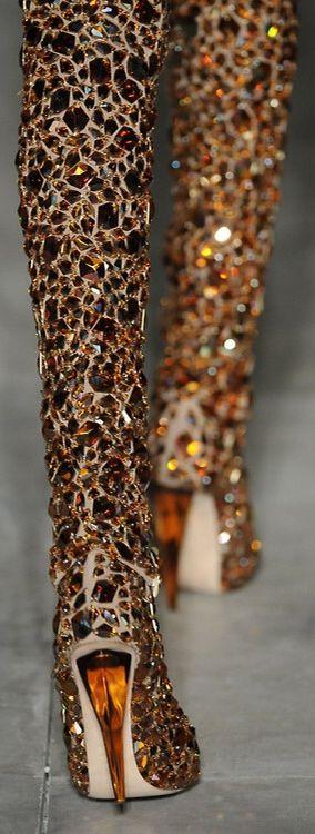 Alexander McQueen ~ Crystal Studded Tall Boots, Fierce