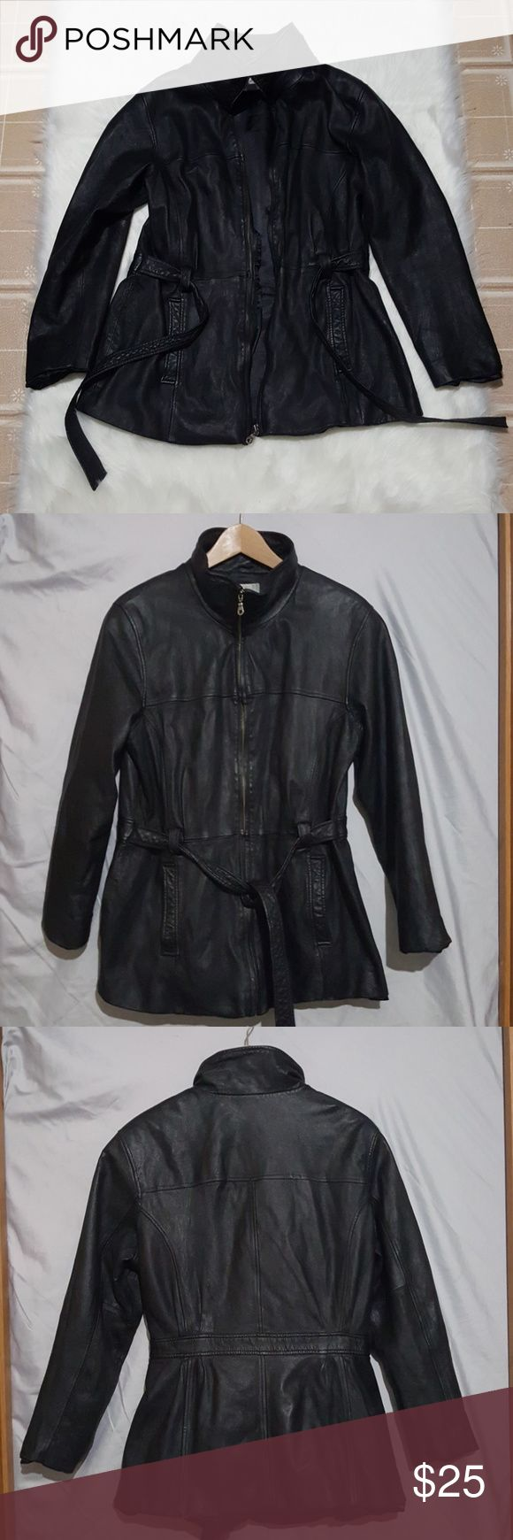 Lambskin Leather Coat Jaqueline Ferrar Size XL Good condition lambskin leather coat. There is a bit of wear along the bottom back of the coat which is pictured, and the place where the belt is attached has unstiched a tad.  The belt on the coat is sewn to the sides, so they can't be removed. Jacqueline Ferrar Jackets & Coats