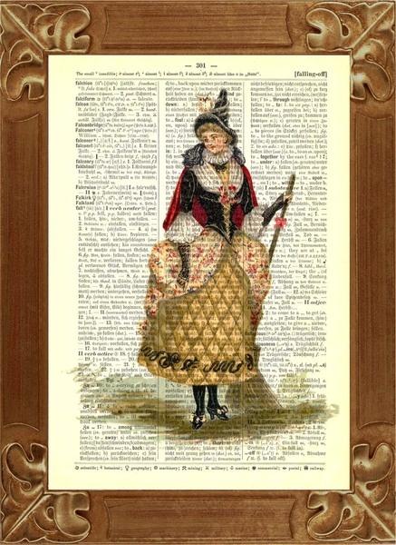 HalloweenHexe, Vintage Abbildung gedruckt auf alten