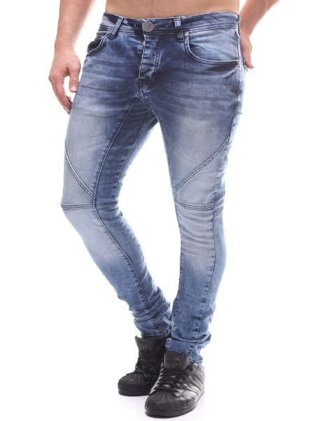 light blue slim fit jeans with stitching pattern on the knees. PLEASE NOTE THE LENGTH IS 33 (FOR ALL WAIST SIZES) size : W x L (Waist x Length) -100% COTTON -Button Fly -SLIM FIT