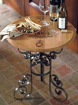 Crafted from the lid of a French oak barrel, the Reclaimed Wine Cask Tasting Table creates an authentic wine tasting experience during all your wine and cheese parties.