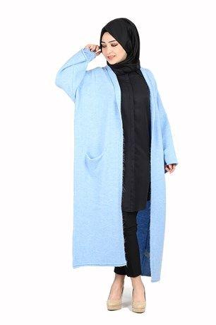 Dilvin Kimono Kollu Cepli Hırka 1980 Buz Mavisi