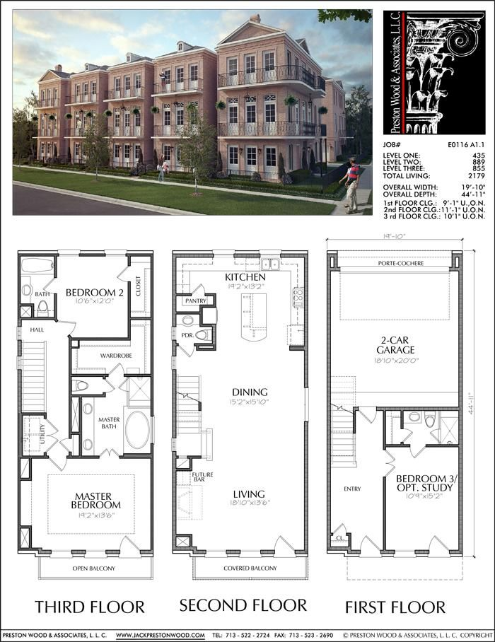 Three Story Townhouse Plan E0116 A1 1 Town House Plans Town House Floor Plan Sims House Plans