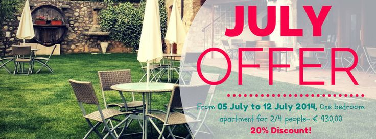 Offer of #July: From 05 July to 12 July 2014, One bedroom #apartment for 2/4 people- € 930,00 20% Discount!  #homeholiday #bestvacation #holidays #lakegarda #gardalake #family #vacations #vacanze #lastminute #travel #tradition #lake #pool #agritur #housefarm #bedandbreakfast #casevacanza #casavacanza #vacanza #affitto #lastminute #italy #lastminuteitaly