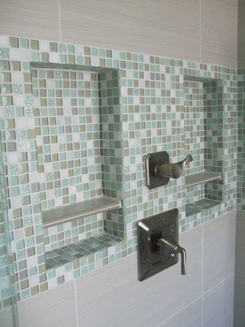 Built in shelves in the studs for the big shower
