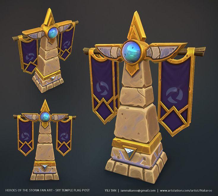 Heroes of the Storm Fan Art - Sky Temple Flag Post, Yili Tan on ArtStation at https://www.artstation.com/artwork/heroes-of-the-storm-fan-art-sky-temple-flag-post