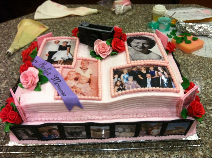 Cake made for a friend's mom's 75th birthday - pictures from her life surround the entire thing