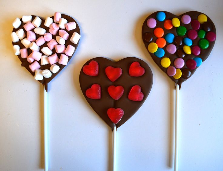 Handmade milk chocolate heart lolly with sweets or white chocolate #love lolly