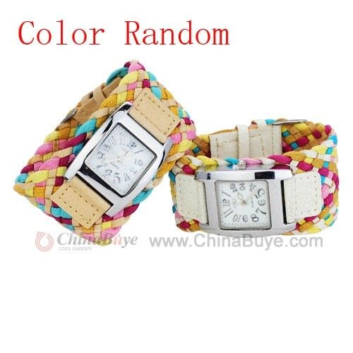 Chinabuye.com---Pretty Colorful Korean Rope Braided Leather Cord Band Quartz Bracelet Watch-Random Color