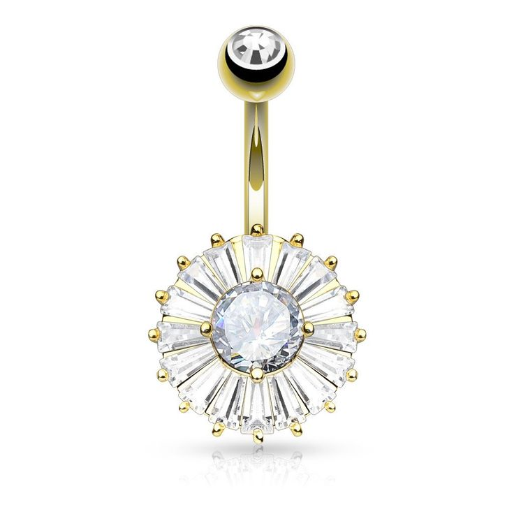 Gold Cubic Zirconia Princess Cut Belly Ring Navel Rings Surgical Steel Body Jewelry