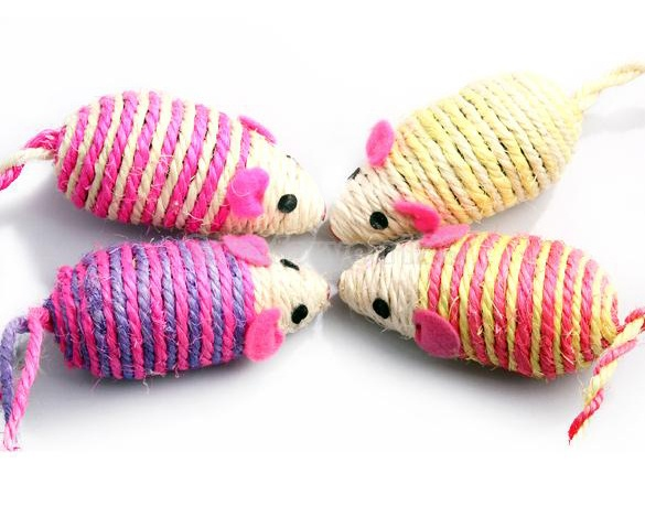 Cat Kitty Toy Mouse Wrapped with Hemp Rope