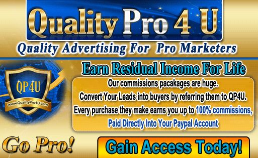 Every member on this site is a paying and subscribed member. Advertise in front of Real Marketers!Promote QP4U as a Pro Only Site. It is important that potential new members know that this is a Pro Only site and that they get those magic $5 payments in their PP account when they promote and get referrals.