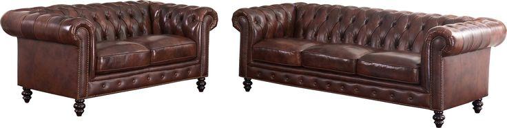 Tunbridge Wells Top Grain Leather Sofa and Loveseat Set