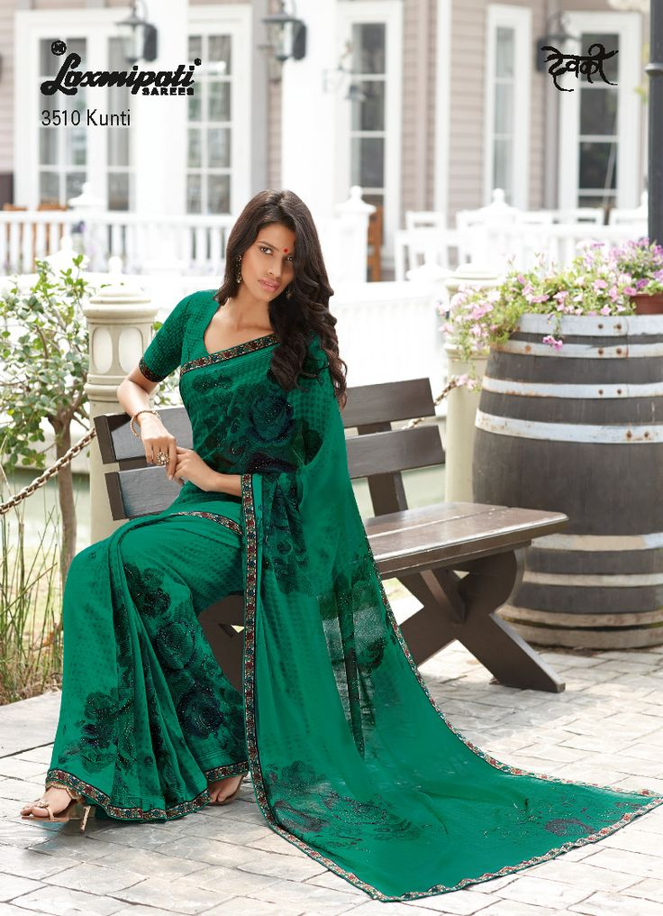 The artistic designs with pogo work is printing on super duper rama green georgette saree. The saree is covered by beautiful lace and satin patti.