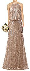 Mismatched Gold and Champagne Bridesmaid Dresses Adrianna Papell
