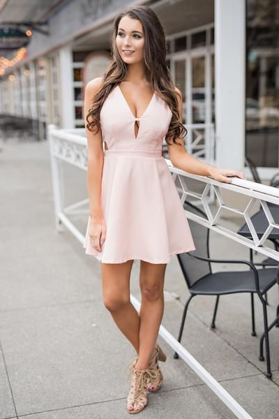On My Wishlist Cutout V Neck Dress (Pink)