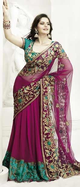 Magenta Net Lehenga Saree With Blouse    Itemcode: SKK12418    Price: US$ 168.83    Click @ http://www.utsavfashion.com/store/sarees-large.aspx?icode=skk12418