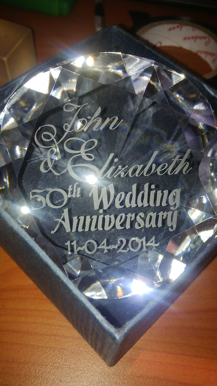 www.facebook.com/kdglassfrosting Crystal 'Diamond' sandblasted for wedding anniversary gift