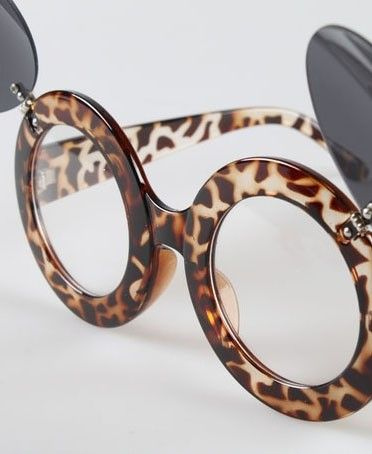 Round Frame Glasses with Leopard Print and Fold Over Lenses